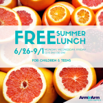 Free Summer Lunch Monday, Wednesday, and Friday, 6/26-9/1 at Arm In Arm.