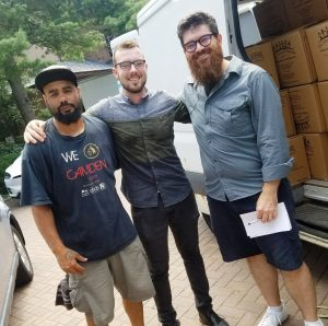 Antonio Poaches with Adam and Josh from So Percussion -- and a very full Arm In Arm van!